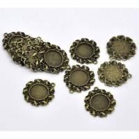 5 Anhänger, Fassung, Vintage-Stil, bronze, verziert, Cabochon, Klebestein, Klebefläche 14mm,  12193 Bild 1