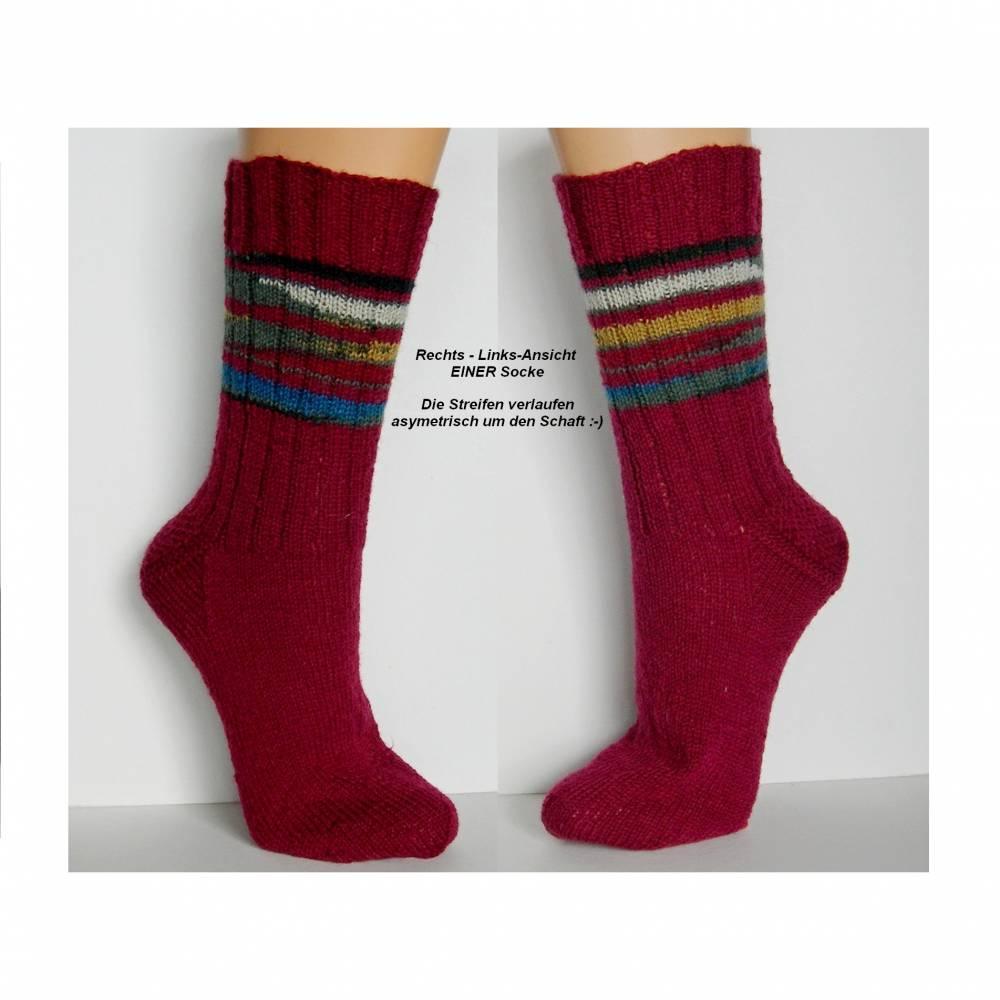 Herrensocken, Männersocken,weinrot mit Streifen, Wunschgröße, handgestrickte Socken Männer, Wollsocken, Ringelsocken Herren, Socken Bild 1